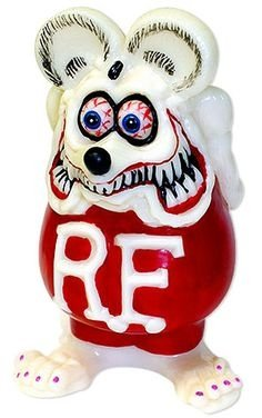 Rat Fink GID Bank figure by Ed Roth, produced by Ed Big Daddy Roth, Inc. Front view.