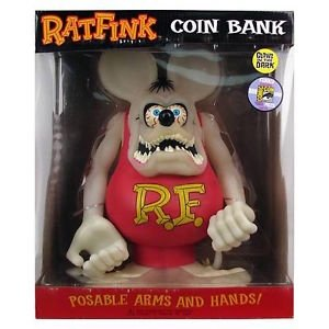 Rat Fink GID Coin Bank figure by Ed Roth, produced by Funko. Front view.