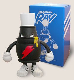 Ray the Aerosol figure by Spanky, produced by Headlock Studio. Front view.