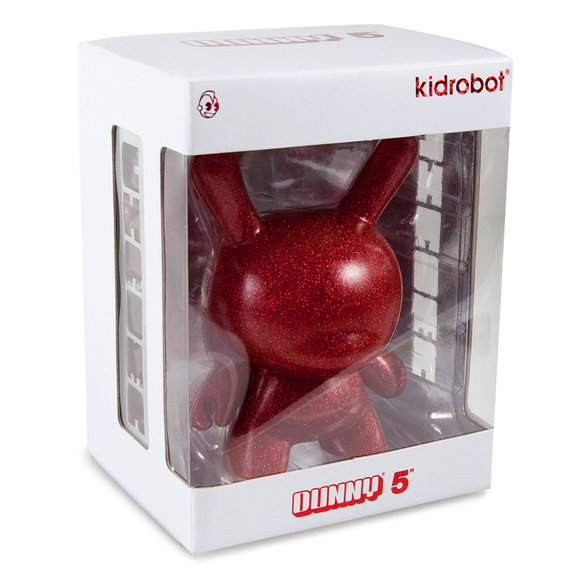 Red Chroma figure, produced by Kidrobot. Packaging.