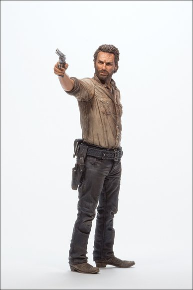 Rick Grimes Deluxe Figure figure by Todd Mcfarlane, produced by Mcfarlane Toys. Side view.