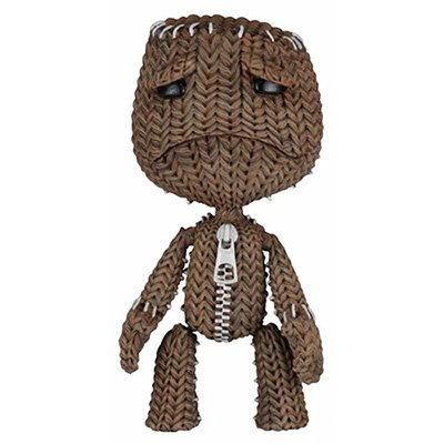 Sad Sackboy figure by Mark Healey And Dave Smith, produced by Neca. Front view.