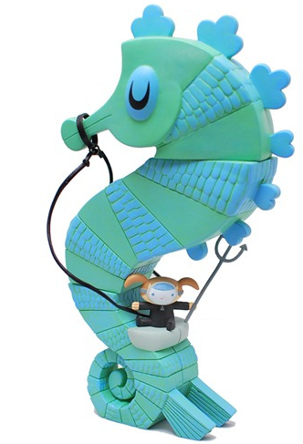 Seahorse and Rider  figure by Amanda Visell, produced by Paradise Toyland. Front view.