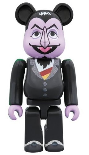 SESAME STREET - COUNT VON COUNT BE@RBRICK 100% figure, produced by Medicom Toy. Front view.