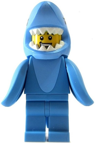 Shark Suit Guy figure by Lego, produced by Lego. Front view.