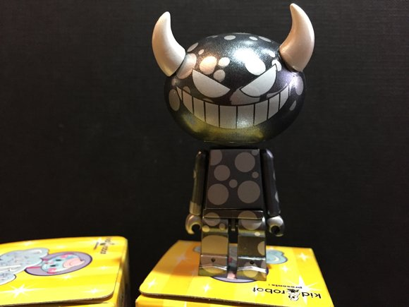 Sket-Bots Series 1 - Grey Horns figure by Sket One, produced by Kidrobot. Front view.