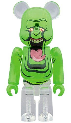 SLIMER-GREEN GHOST BE@RBRICK 100% figure, produced by Medicom Toy. Front view.