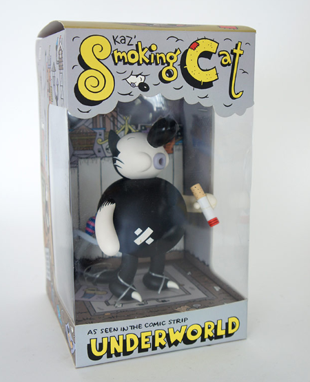 Smoking Cat figure by Kaz, produced by Critterbox. Packaging.
