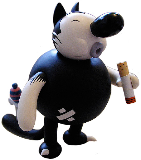 Smoking Cat figure by Kaz, produced by Critterbox. Front view.