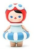 Summer Blue Baby figure by Pucky, produced by Pop Mart. Front view.