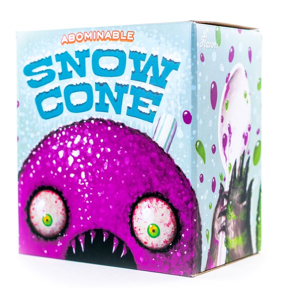 The Abominable Snow Cone: Grape figure by Jason Limon, produced by Martian Toys. Packaging.