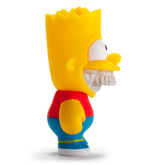 THE SIMPSONS HOMER & BART GRIN 3 FIGURES BY RON ENGLISH figure by Ron English, produced by Kidrobot. Side view.