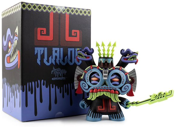 Tlaloc 8 Dunny God (blue regular edition) figure by Jesse Hernandez, produced by Kidrobot. Packaging.