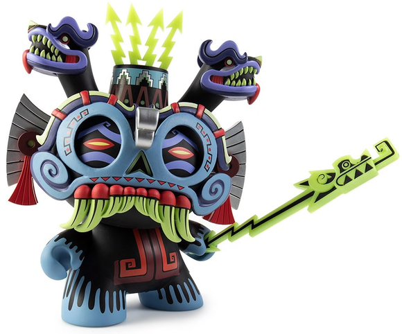Tlaloc 8 Dunny God (blue regular edition) figure by Jesse Hernandez, produced by Kidrobot. Front view.