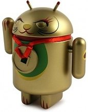 Android Lucky Cat figure by Mr. Shane Jessup, produced by Dyzplastic. Front view.