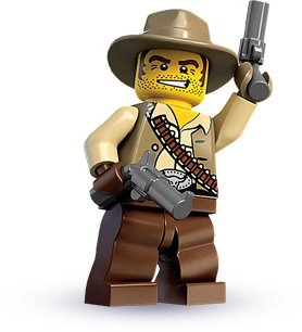 Cowboy figure by Lego, produced by Lego. Front view.