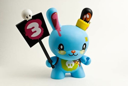 Blue Love Dunny figure by Tado, produced by Kidrobot. Front view.