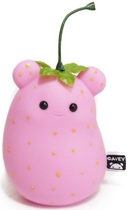 Strawberry Cavey figure by A Little Stranger. Front view.