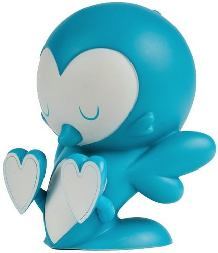 Love Birds - Teal figure by Kronk, produced by Kidrobot. Front view.