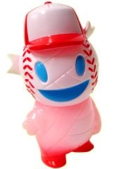 Pocket Baseball Boy - Pink GID figure by Brian Flynn, produced by Super7. Front view.