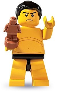 Sumo Wrestler figure by Lego, produced by Lego. Front view.