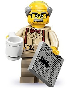 Grandpa figure by Lego, produced by Lego. Front view.