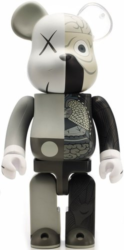 Dissected Companion Be@rbrick 400% - Mono  figure by Kaws, produced by Medicom Toy. Front view.