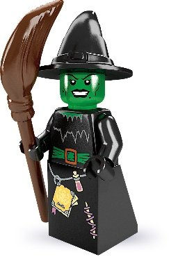 Witch figure by Lego, produced by Lego. Front view.