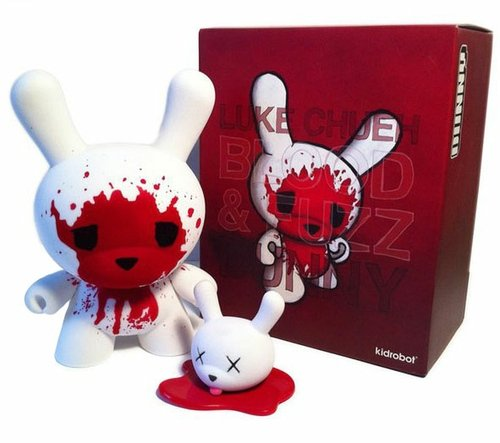 Blood & Fuzz Dunny figure by Luke Chueh, produced by Kidrobot. Front view.