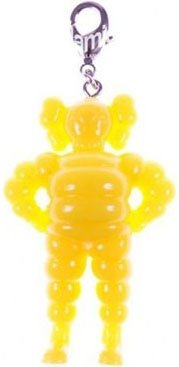 Chum Keychain - Yellow figure by Kaws, produced by Original Fake. Front view.