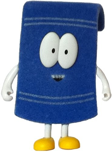 Towelie figure by Matt Stone & Trey Parker, produced by Kidrobot. Front view.