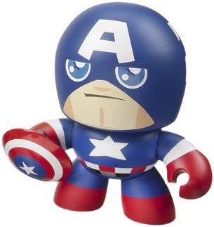 Captain America figure by Marvel, produced by Hasbro. Front view.
