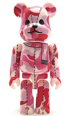 Bape Play Be@rbrick S1 - Pink Camo figure by Bape, produced by Medicom Toy. Front view.