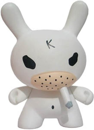 White Hate (Chase)  figure by Frank Kozik, produced by Kidrobot. Front view.