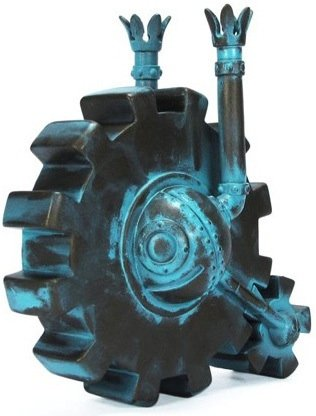 Sentry Wheel - Verdigris figure by Doktor A, produced by Mindstyle. Front view.