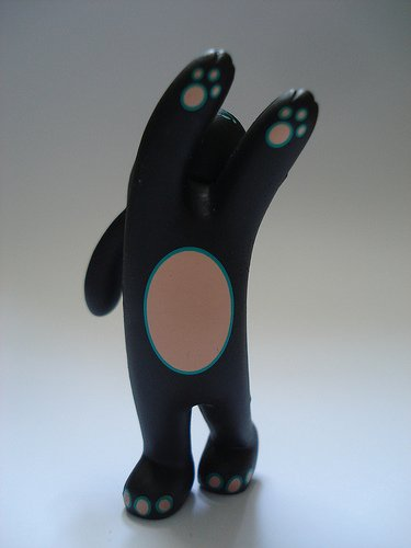 flying bunny figure by Tara Mcpherson, produced by Kidrobot. Front view.