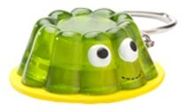 Green Jello figure by Heidi Kenney, produced by Kidrobot. Front view.