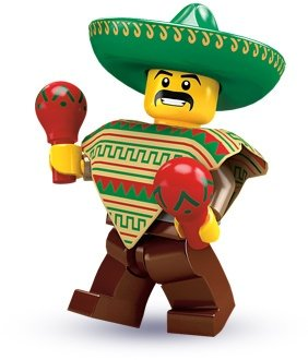 Mariachi figure by Lego, produced by Lego. Front view.