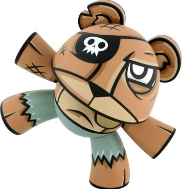 Pirate Teeter figure by Joe Ledbetter, produced by Kidrobot. Front view.