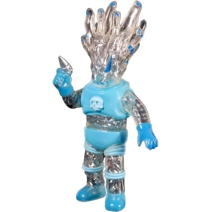 Ghostrooper  - Clear/Blue with Silver Tinsel Guts figure by Brian Flynn X Shuji Kashimoto, produced by Toygraph X Super7. Front view.