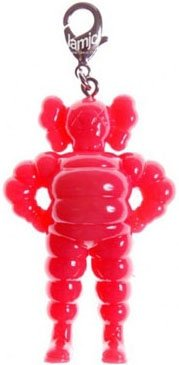 Chum Keychain - Red figure by Kaws, produced by Original Fake. Front view.