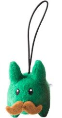 Green Happy Labbit Mini Plush figure by Frank Kozik, produced by Kidrobot. Front view.