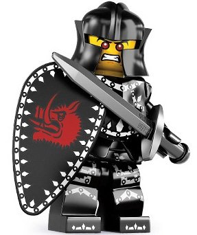 Evil Knight figure by Lego, produced by Lego. Front view.