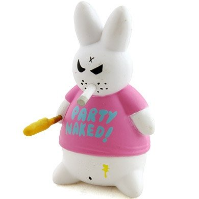 Party Naked Bunny figure by Frank Kozik, produced by Kidrobot. Front view.
