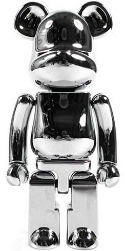 Be@rbrick 200% Chrome figure, produced by Medicom Toy X Bandai. Front view.