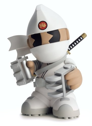 Kidrobot Mascot 14 - Shiro Kidninja figure by Huck Gee, produced by Kidrobot. Front view.