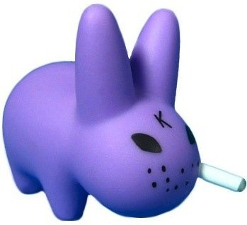 Purple Labbit figure by Frank Kozik, produced by Kidrobot. Front view.