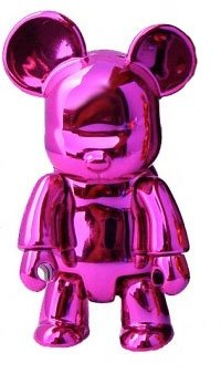 Metallic Bear Qee - Pink  figure, produced by Toy2R. Front view.