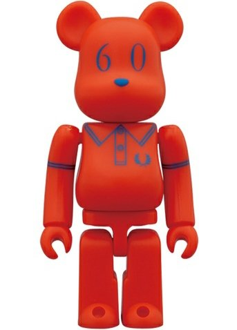 Fred Perry 60th Anniversary Be@rbrick 100% - Beams Ver. figure by Fred Perry, produced by Medicom Toy. Front view.