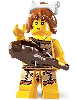 Cave Woman figure by Lego, produced by Lego. Front view.